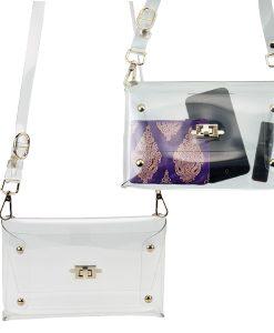 Clear Shoulder Clutch Handbag with Turn-Key Closure