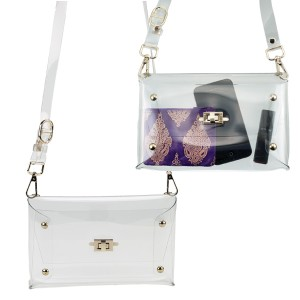 Clear Shoulder Clutch Handbag with Turn-Key Closure