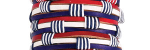 Nautical Stripe Leather Bracelet on tube