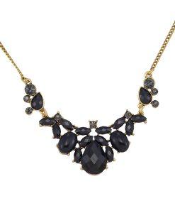 Black Faceted Teardrop Necklace