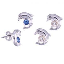 Crystal Dolphin Stud Earring