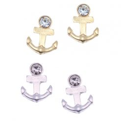 Small Anchor with Crystal  Stud Earring