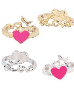 Enamel Heart & Love Reversible RING