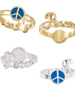 Enamel Peace & Peace Sign Reversible RING