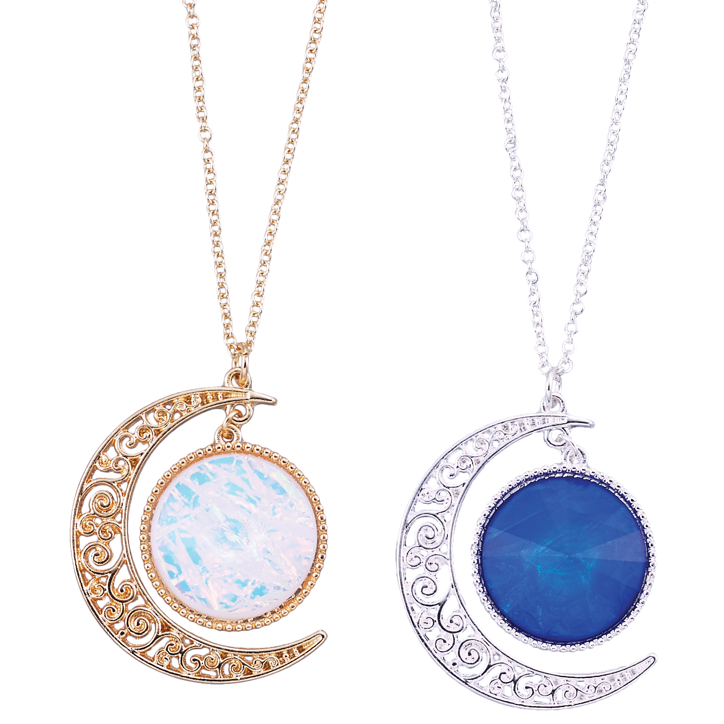 filigree and holographic crescent moon necklace