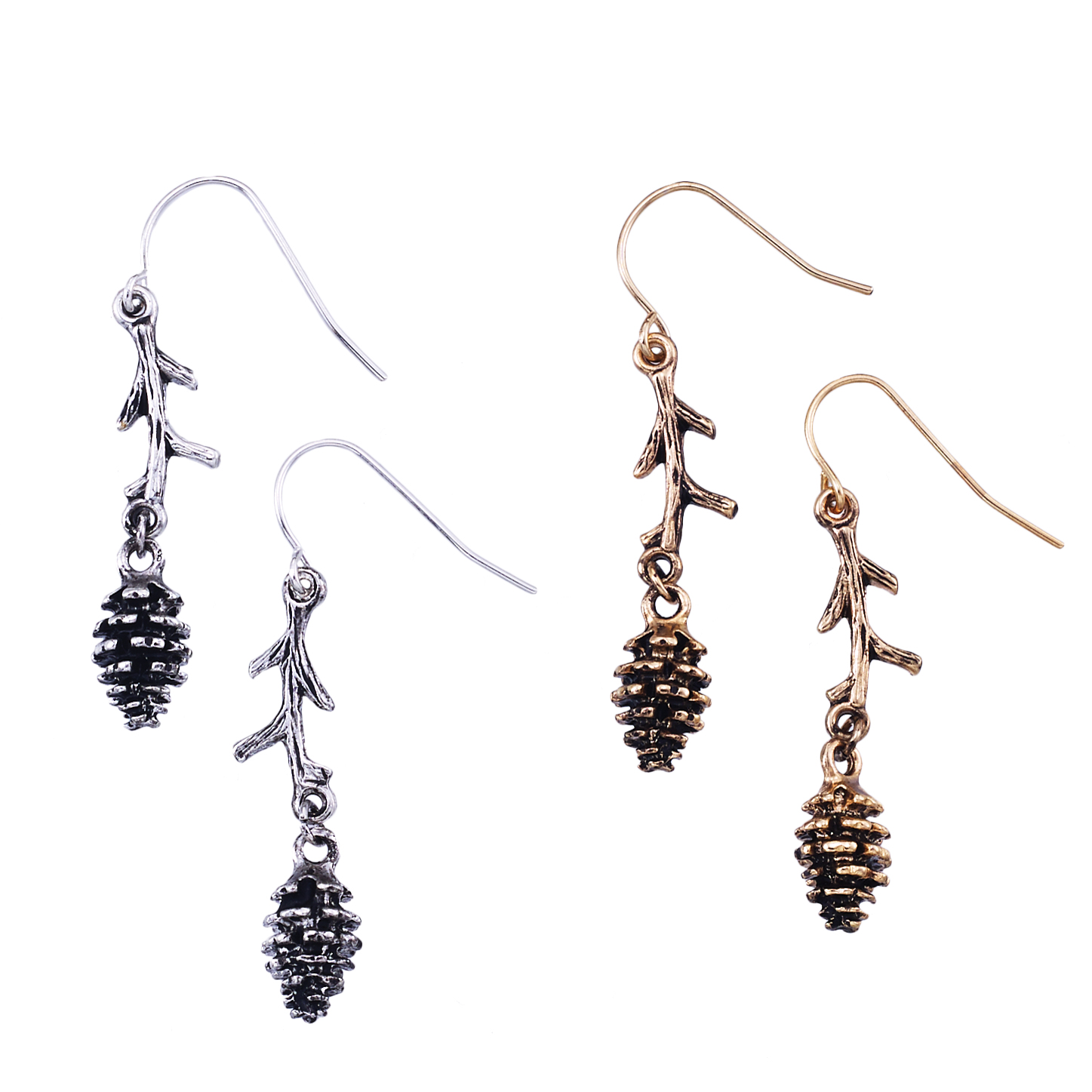 Pinecone And Branch Earring